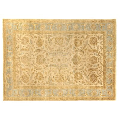 Oushak Hand Woven Wool Ivory/Light Blue Area Rug Rug Size: Rectangle 10 x 14
