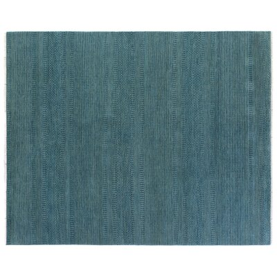 Overdyed Hand Woven Wool Turquoise Area Rug