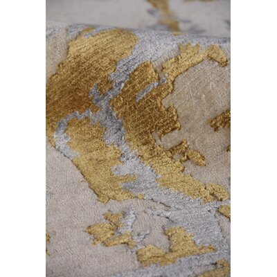 Cecily Hand Woven Silk Gold Area Rug