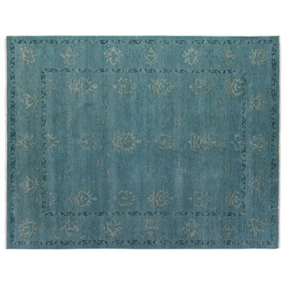 Overdyed Hand Woven Wool Turquoise Area Rug