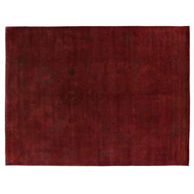 Overdyed Hand Woven Wool Red Area Rug