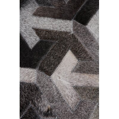 Natural Hand-Woven Cowhide Gray/Black Area Rug Rug Size: Rectangle�8 x 11