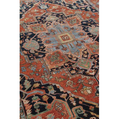 Serapi Hand-Knotted Wool Red/Blue Area Rug Rug Size: Rectangle 12 x 15