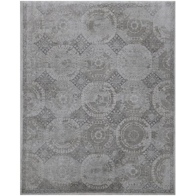 Fine Mamluk Hand-Knotted Silk Gray Area Rug Rug Size: Rectangle�12 x 15