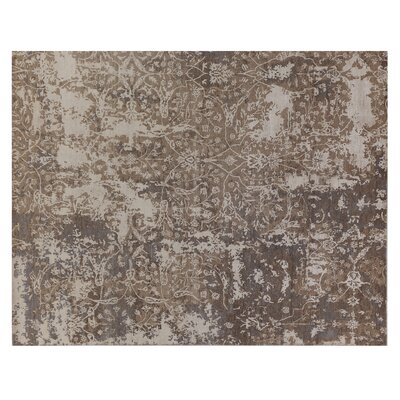 Hundley Hand-Knotted Brown/Beige Area Rug Rug Size: Rectangle 14 x 18