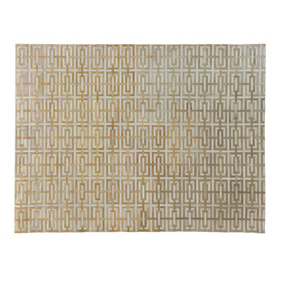 Natural Hand-Woven Cowhide Beige Area Rug Rug Size: Rectangle�8 x 11
