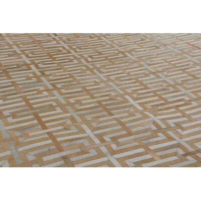 Natural Hand-Woven Cowhide Beige Area Rug Rug Size: Rectangle�116 x 146