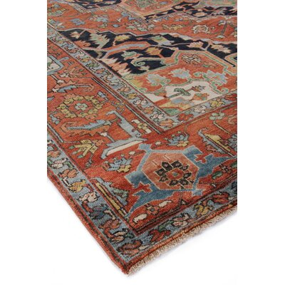 Serapi Hand-Knotted Wool Red/Blue Area Rug Rug Size: Rectangle 4 x 6