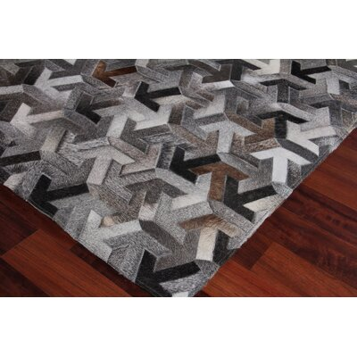 Natural Hand-Woven Cowhide Gray/Black Area Rug Rug Size: Rectangle�5 x 8