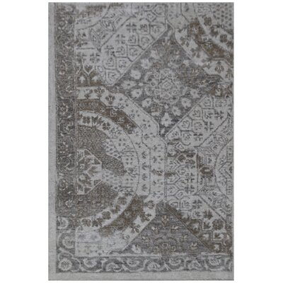 Fine Mamluk Hand-Knotted Silk Gray Area Rug Rug Size: Rectangle�9 x 12