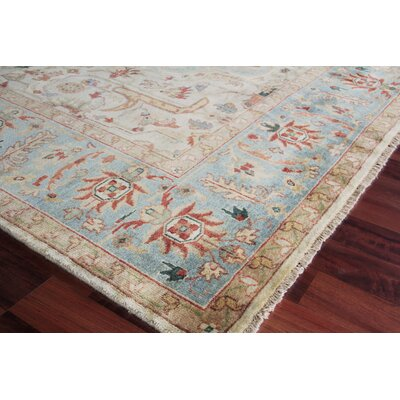 Serapi Hand-Knotted Wool Ivory/Light Blue Area Rug Rug Size: Rectangle 8 x 10