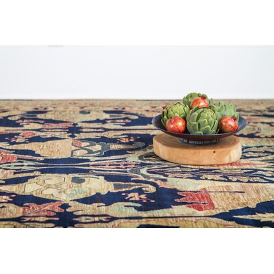 Jurassic Hand-Knotted Wool Blue/Brown Area Rug Rug Size: Rectangle�6 x 9