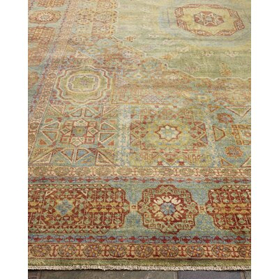 Mamluk Hand-Knotted Wool Red/Light Blue Area Rug Rug Size: Rectangle�12 x 15
