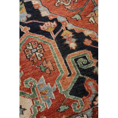 Serapi Hand-Knotted Wool Red/Blue Area Rug Rug Size: Rectangle 6 x 9