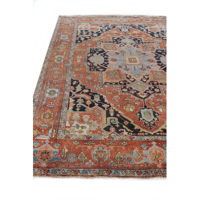 Serapi Hand-Knotted Wool Red/Blue Area Rug Rug Size: Rectangle 9x12