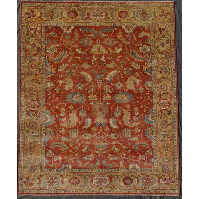 Serapi Hand-Knotted Wool Red/Beige Area Rug Rug Size: Rectangle 6 x 9