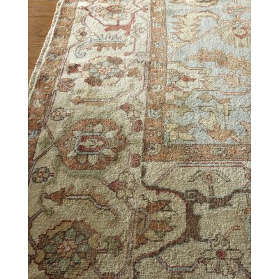 Serapi Hand-Knotted Wool Light Blue/Ivory Area Rug Rug Size: Rectangle 6 x 9
