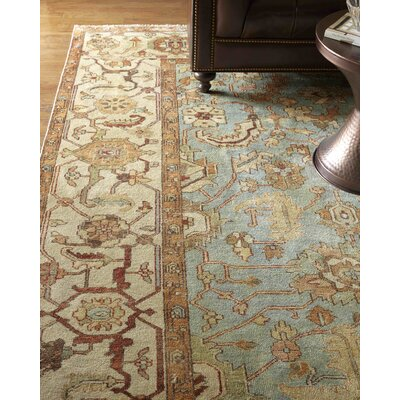 Serapi Hand-Knotted Wool Light Blue/Ivory Area Rug Rug Size: Rectangle 9 x 12