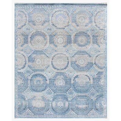 Fine Mamluk Hand-Knotted Silk Blue/Beige Area Rug