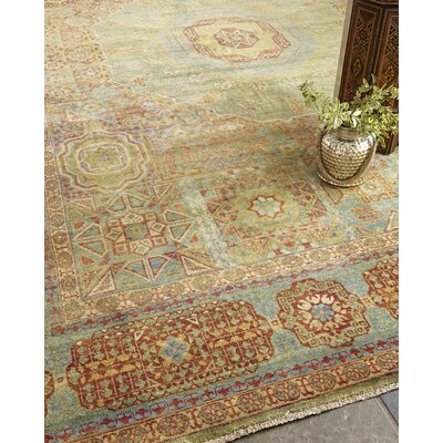 Mamluk Hand-Knotted Wool Red/Light Blue Area Rug Rug Size: Rectangle�4 x 6