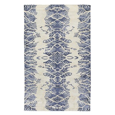 Koda Hand-Woven Ivory/Blue Area Rug Rug Size: Rectangle 6 x 9