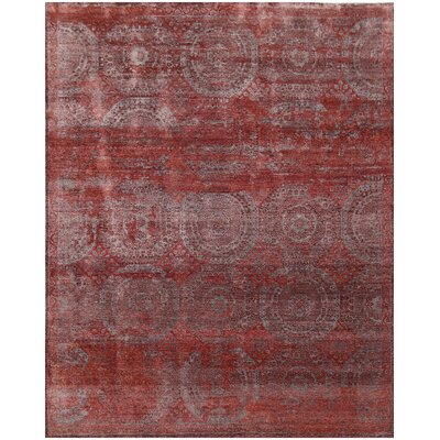 Fine Mamluk Hand-Knotted Silk Red Area Rug Rug Size: Rectangle�10 x 14