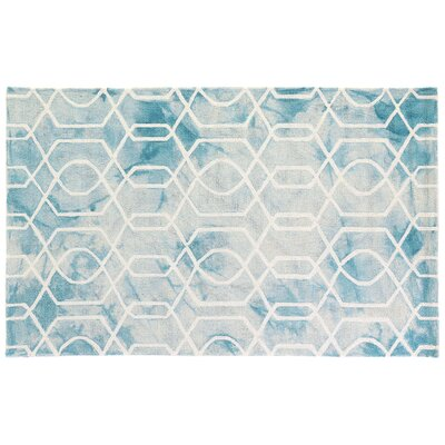 Dip-Dye Hand-Tufted Wool Aqua Area Rug Rug Size: Rectangle 5 x 8