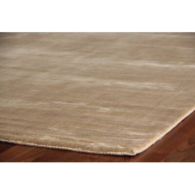Plain Dove Hand-Knotted Silk Beige Area Rug Rug Size: Rectangle 6 x 9
