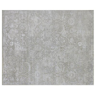 Meena Hand-Knotted Gray Area Rug Rug Size: Rectangle�14 x 18