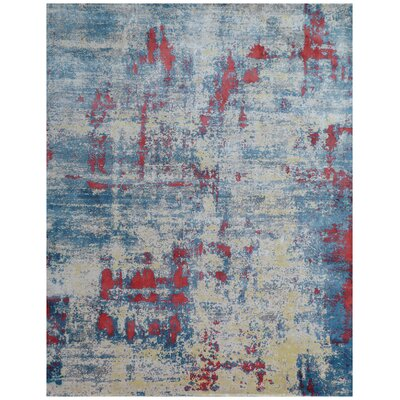 Reflections Hand-Woven Ivory/Blue Area Rug Rug Size: Rectangle 12 x 15