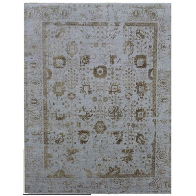 Lexington Hand-Knotted Blue/Gold Area Rug Rug Size: Rectangle 8 x 10