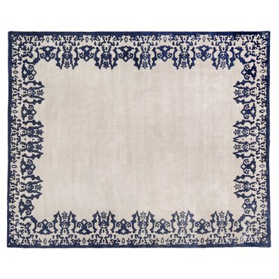 Antolini Hand-Woven Ivory/Blue Area Rug Rug Size: Rectangle 12 x 15
