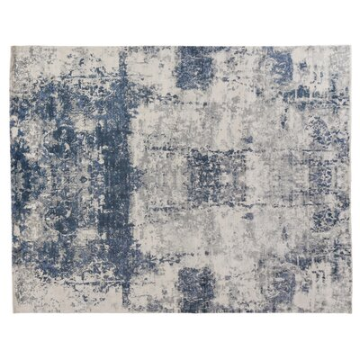 Roset Hand-Woven White/Blue Area Rug Rug Size: Rectangle 8 x 10