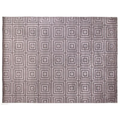 Greek Key Hand-Knotted Silver/Gray Area Rug Rug Size: Rectangle 12 x 15