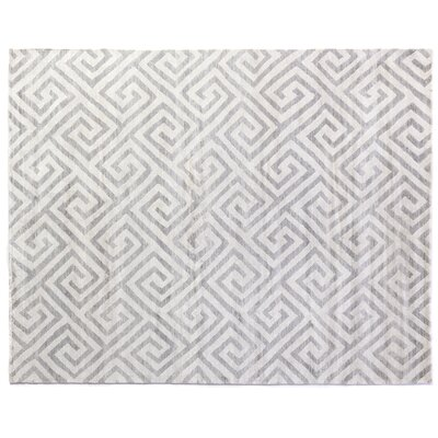 Hand-Knotted Silver/White Area Rug
