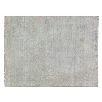 Lexington Hand-Knotted Silver/Aqua Area Rug Rug Size: Rectangle 14 x 18