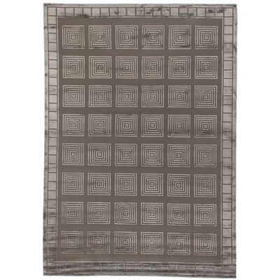 Metro Hand-Knotted Dark Gray/Ivory Area Rug Rug Size: Rectangle 8 x 10