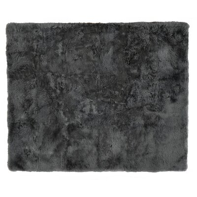 Hand woven Sheepskin Dark Gray Area Rug Rug Size: Rectangle 8 x 10