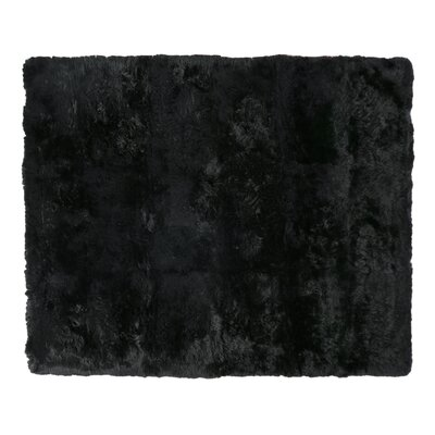 Hand woven Sheepskin Black Area Rug Rug Size: Rectangle 116 x 146
