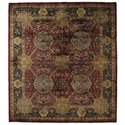 Lavar Hand-Knotted Wool Maroon/Yellow Area Rug Rug Size: Rectangle 9 x 10