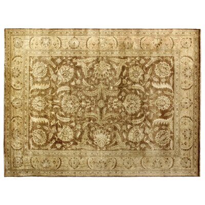 Oushak Hand-Knotted Wool Brown/Yellow Area Rug Rug Size: Rectangle 6 x 9