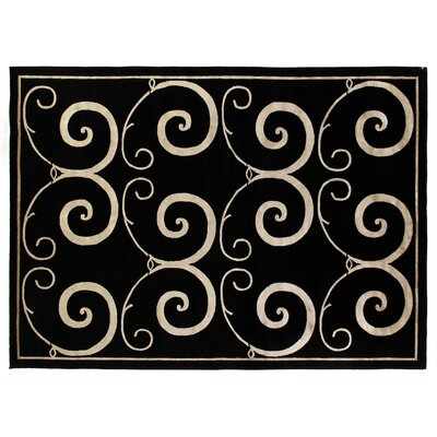 Super Tibetan Hand-Knotted Black/Beige Area Rug