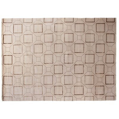 Super Tibetan Hand-Knotted Ivory/Brown Area Rug Rug Size: Rectangle 10 x 14