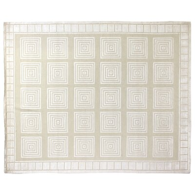 Greek Key Hand-Knotted Wool Ivory/White Area Rug