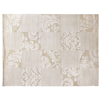 Super Tibetan Hand-Knotted Beige/Silver Area Rug Rug Size: Rectangle 8 x 10