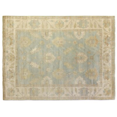 Oushak Hand-Knotted Wool Light Blue/Beige Area Rug Rug Size: Rectangle 8 x 10