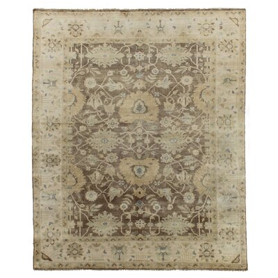 Oushak Hand-Knotted Wool Brown/Ivory Area Rug Rug Size: Rectangle 12 x 15