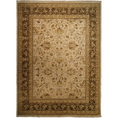 Ziegler Hand-Knotted Wool Ivory/Brown Area Rug Rug Size: Rectangle 9 x 10