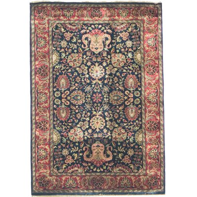 Super Mashad Hand-Knotted Wool Navy/Red Area Rug Rug Size: Rectangle 6 x 9