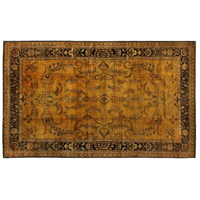 Mohajeran Sarouk Hand-Knotted Wool Gold/Black Area Rug Rug Size: Rectangle 14 x 16
